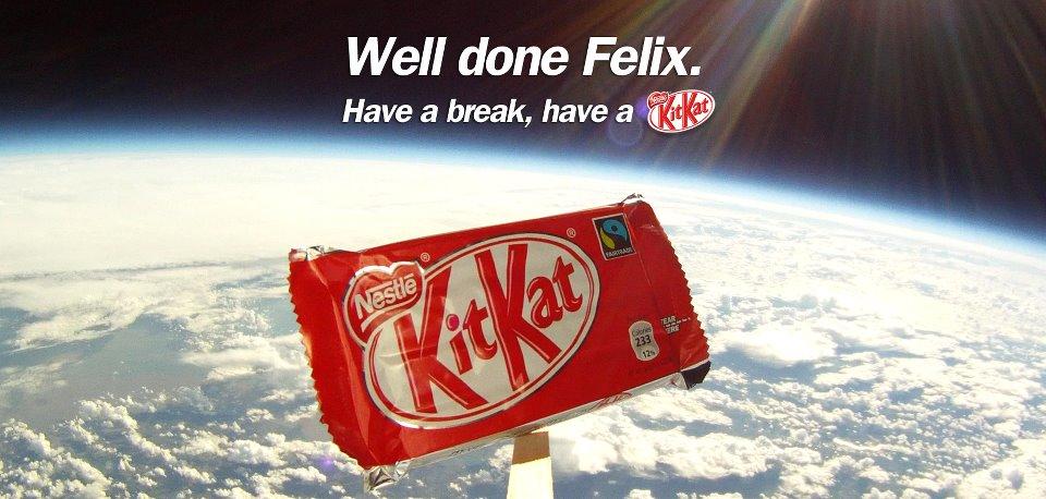 Kit-Kat utilizó la estrategia de la rémora tras el éxito del proyecto Red-Bull Stratos de Felix Baumgartner.